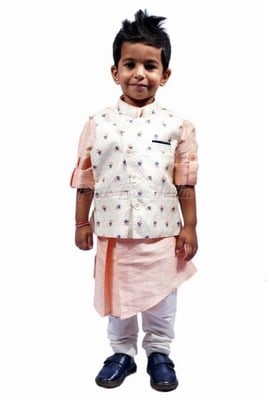 Peach Kurta Pajama with Jacket for Rakhi Festival