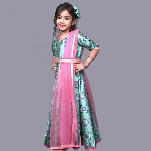 Baby Girl Green Long Gown Rakhi Festival Dress