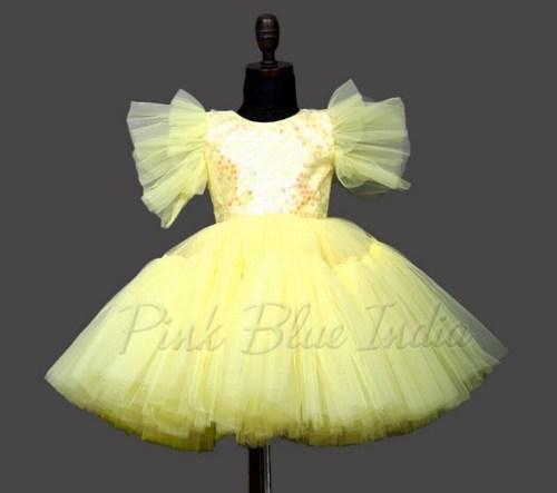 Rakhi Special Toddler Girl Frock in Yellow