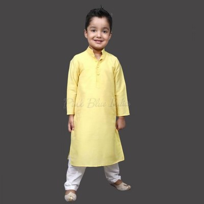 Boys Yellow Cotton Kurta Pajama for Raksha Bandhan