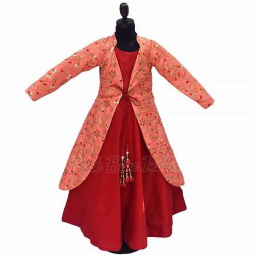 Gota Patti Work Girls Gown - Raksha Bandhan Dress