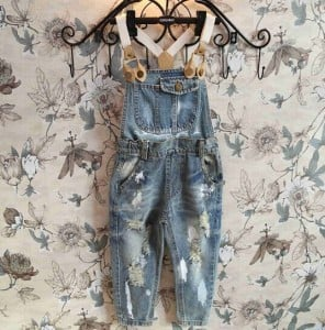 Denim Worn Out Romper Clothing