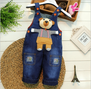 Teddy Bear Denim Romper