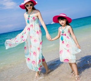 Sea Green and Pink Floral Vacation Costume