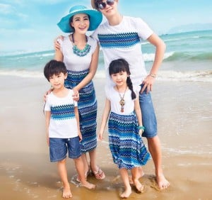 White and Blue Family Matching Outfits