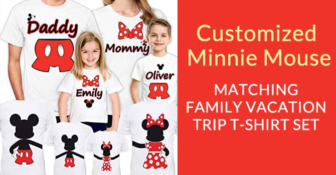 Customized Minnie Mouse Family T-Shirt Set, Family Vacation Trip T-Shirts