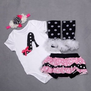 Black and White 4 Piece 1st birthday outfit