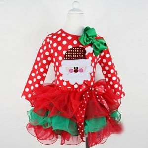 Red Polka Dots Designer Merry Xmas Outfit