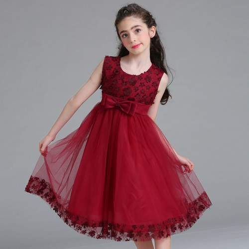 Latest Red Christmas Party Dress for Girl