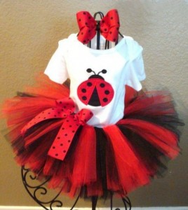Red and White Beetle birthday Tutu Dress