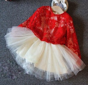 Red and White Christmas Party Wear for Girls