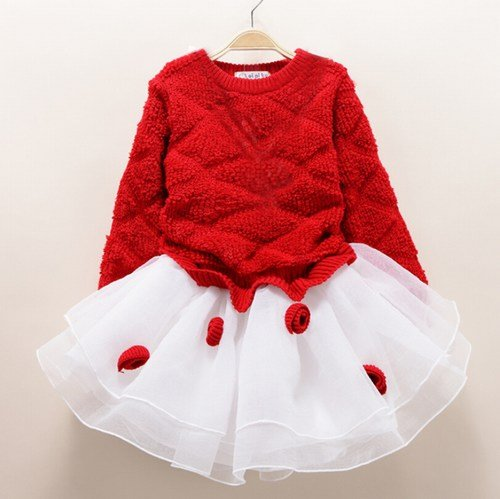 Red and White Baby Girl Christmas Party Dress