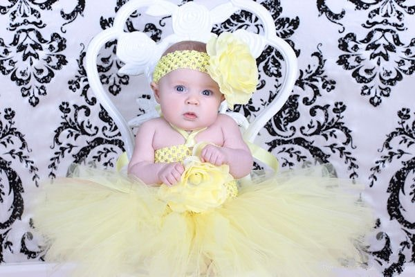Cute 1 Year Old Birthday Tutu Outfits In Yellow Dress For Girls