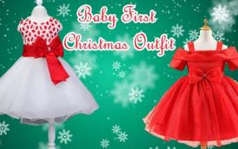 Beautiful First Christmas Outfit for Baby Girl 1-8 years