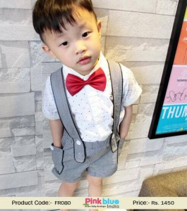 Grey and White Formal Suit for Baby Boys