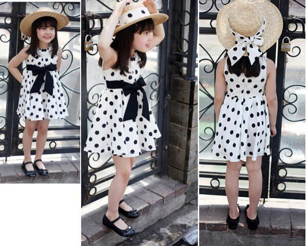 Black Polka Dots Girls Dress