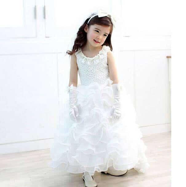 girls Ruffle Wedding Gown