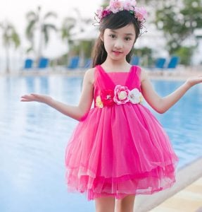 Hot Pink Kids Party Dress