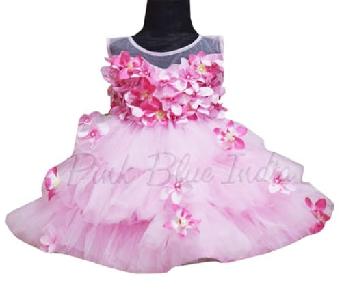 Pink Frock, Pink Color Birthday Frocks, Girls Pink Flower Girl Dress