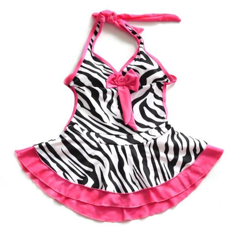 Zebra Stripe girls Swimming Costume