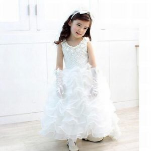 White Floral Wedding Baby Party Gowns