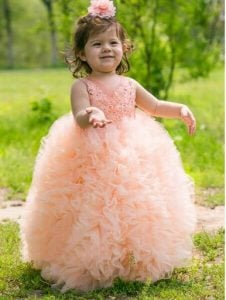 Peach Fluffy Kids Party Gown