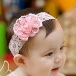 pink rose baby headband