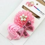 Floral Bow Baby Pink Hair Accessories