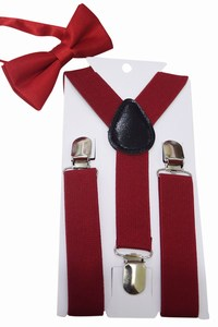 Red boys Matching Suspenders and Bow Tie