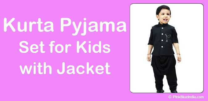 Kids Kurta Pyjama Set with Jacket