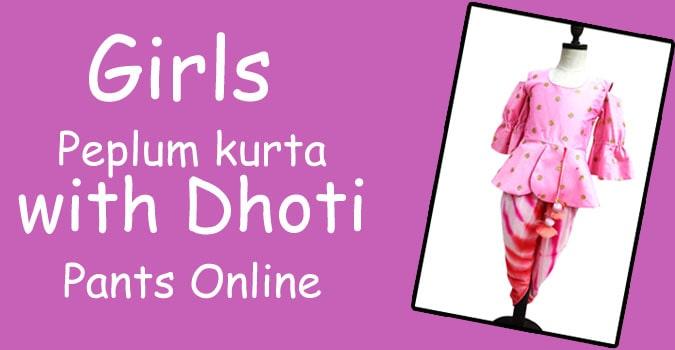 Girls Peplum kurta with Dhoti Pants - Diwali Ethnic wear