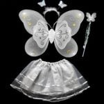 Unique White fairy wings and wand for kids