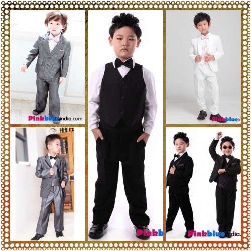 Baby Boys 5 Pieces  Wedding Special Ocassion Black  Suit  For Ages 3-23 months