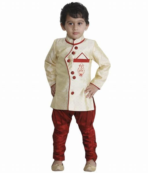 Kids Angrakha Style Jacket and Pajama