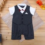 Formal Romper Bowtie Birthday Outfit Set Baby Boy