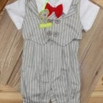 Baby Boy Waistcoat Outfit Set Romper Birthday Party Dress