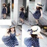 Blue and White Polka Baby Special Occasion Dress