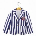 Kids Summer Partywear Coat Blue and White Stripes