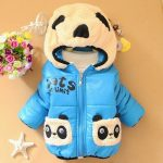 Childrens Panda Face Winter Wear Jacket Blue and White