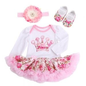 1st Birthday Party Princess Crown One Piece Romper Tutu Set