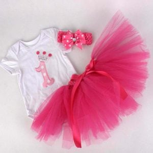 1st Birthday Princess Crown Romper Dress Sets