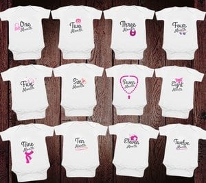 Personalized 1-12 Monthly Milestone Onesies for Newborn Babies