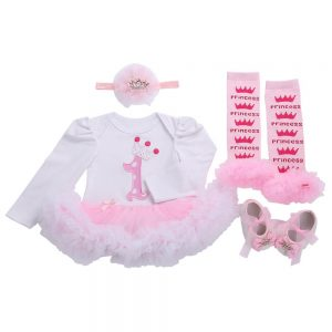 Baby Long Sleeve First Birthday Princess Crown Romper Outfit