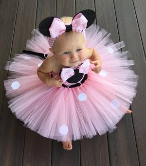 Baby Girl Minnie Mouse 1st Birthday Tutu Dress - Cake Smash Outfit