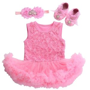 Spring and Summer 2017 Baby Girl Rosette Romper Dress