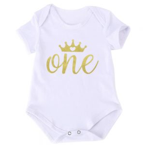 Newborn Baby Girl First Birthday Onesie Gold Glitter One