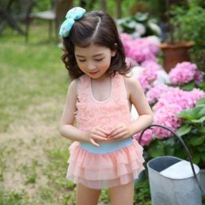 Baby Girls Ruffled One Piece Swimsuit and Beachwear Set