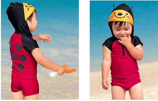 Baby Red and Black Beetle Beachwear Swimming Suit