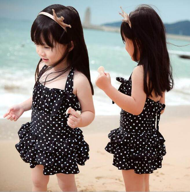 Black Baby Girl Swimwear White Polka Dot Bathing Suit
