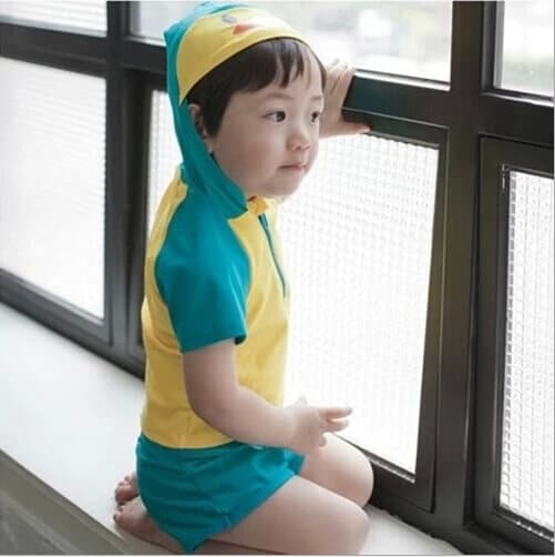 Buy Blue and Yellow Toddler kids Boy Swimming Costume